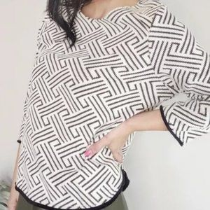 W5 Anthropologie Geometric Fringe Top